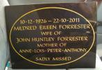 Memorial plaque fixed on an existing bas